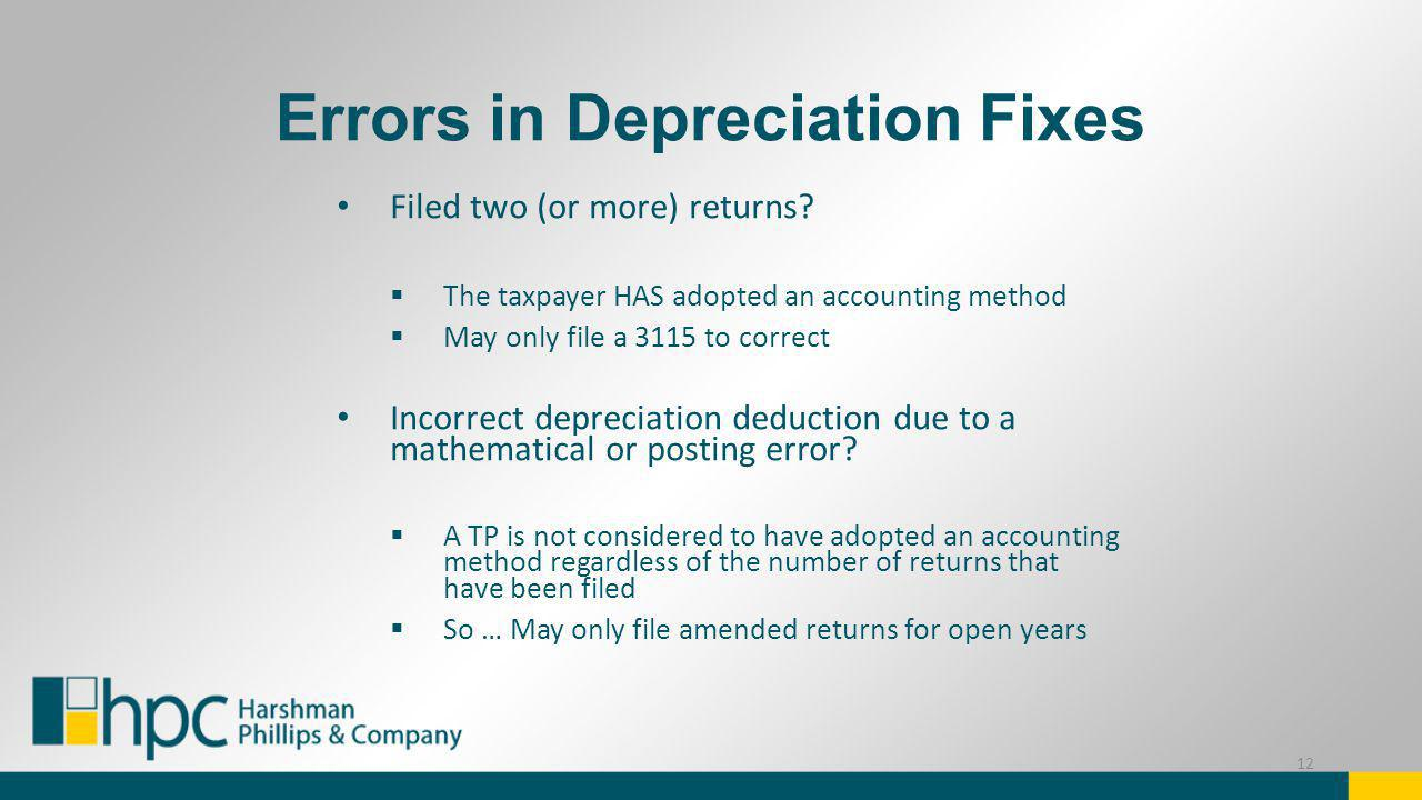 Errors in Depreciation Fixes