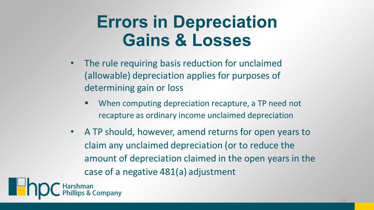 Errors in Depreciation Gains & Losses