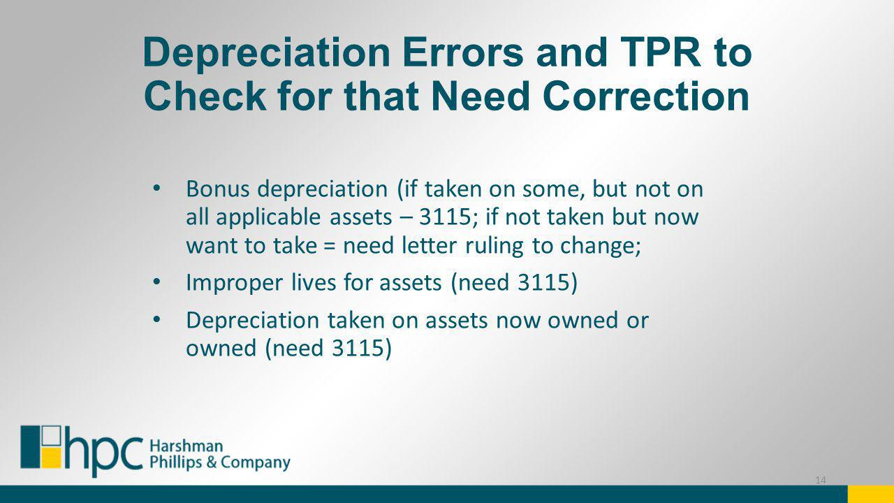 Depreciation Errors and TPR to Check for that Need Correction