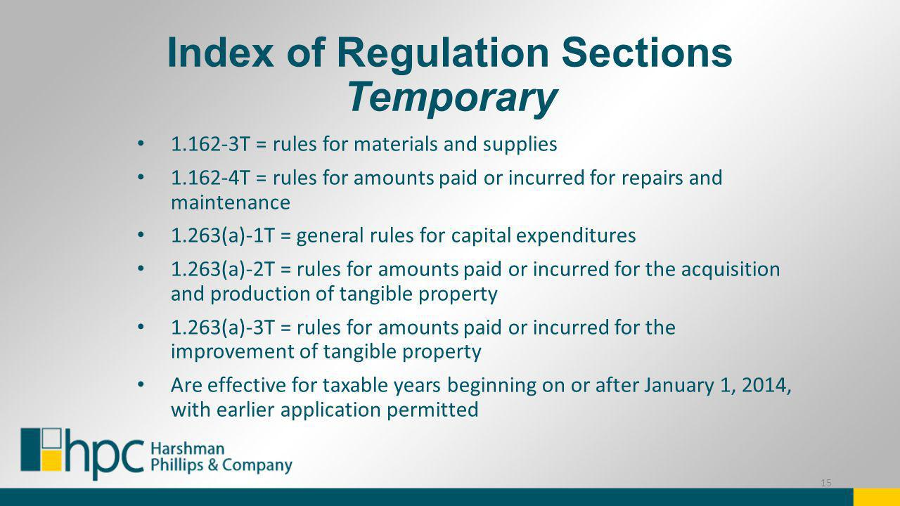 Index of Regulation Sections Temporary