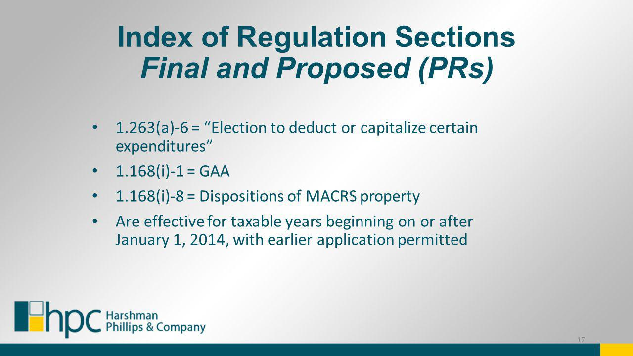 Index of Regulation Sections Final and Proposed (PRs)