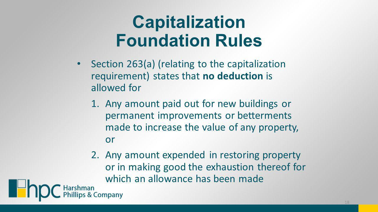 Capitalization Foundation Rules