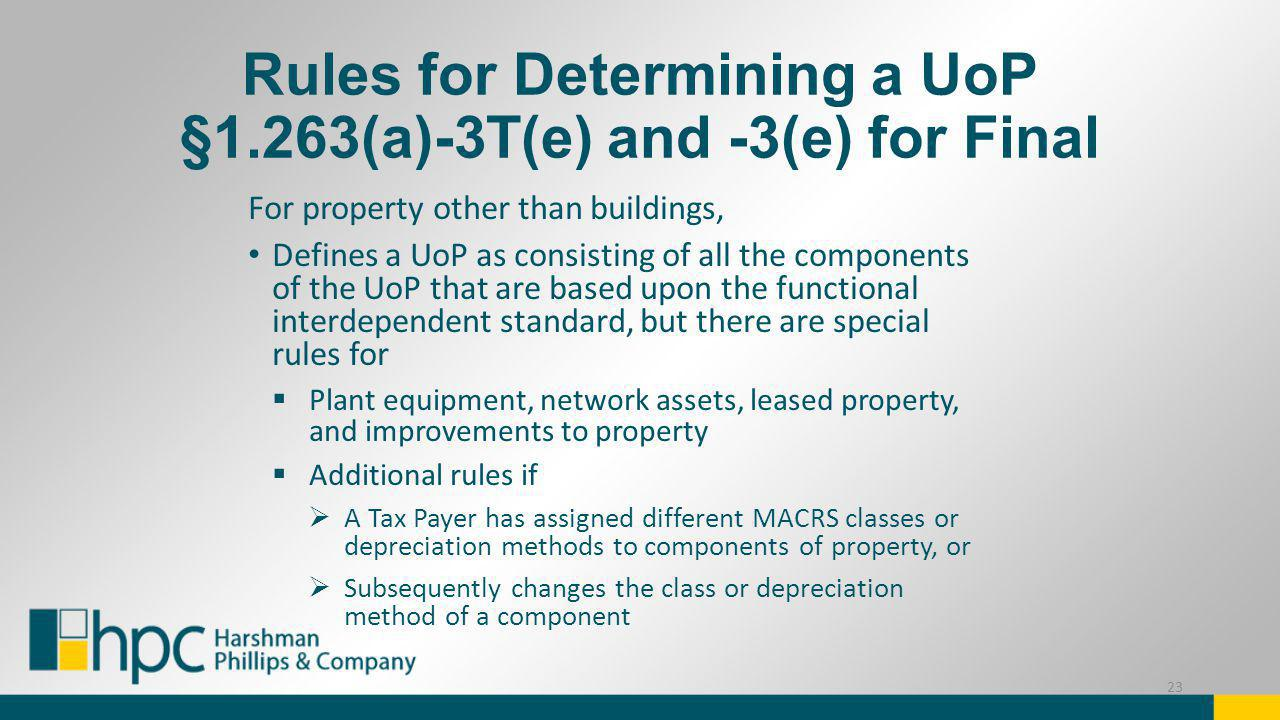 Rules for Determining a UoP §1.263(a)-3T(e) and -3(e) for Final