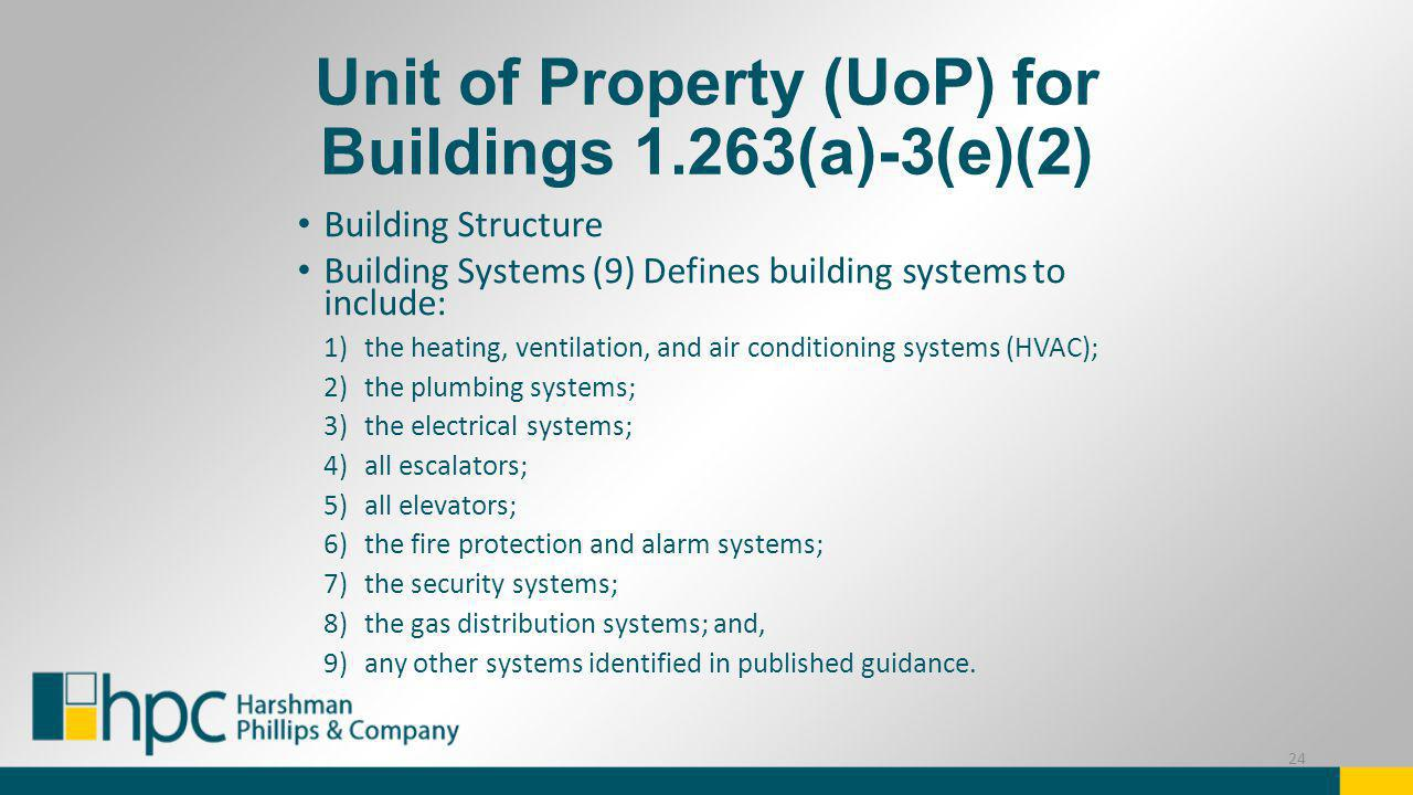 Unit of Property (UoP) for Buildings 1.263(a)-3(e)(2)