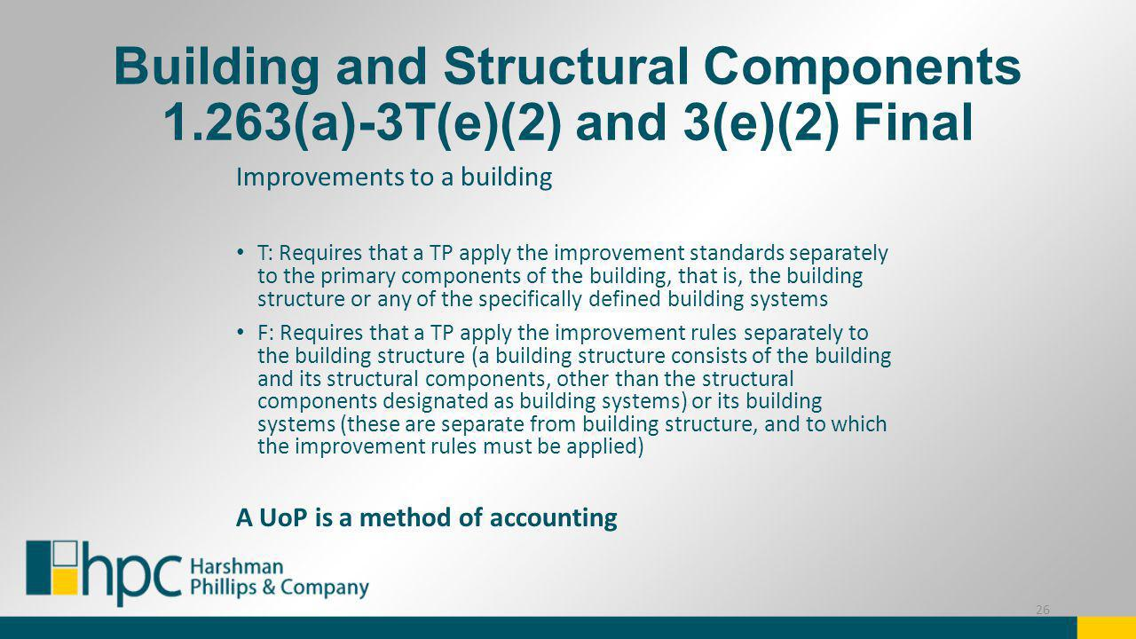 Building and Structural Components 1.263(a)-3T(e)(2) and 3(e)(2) Final