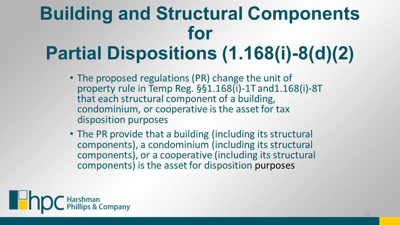 Building and Structural Components for Partial Dispositions (1