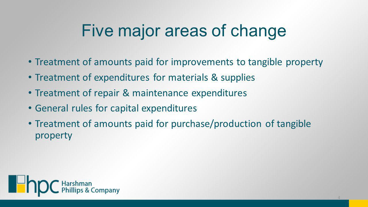 Five major areas of change