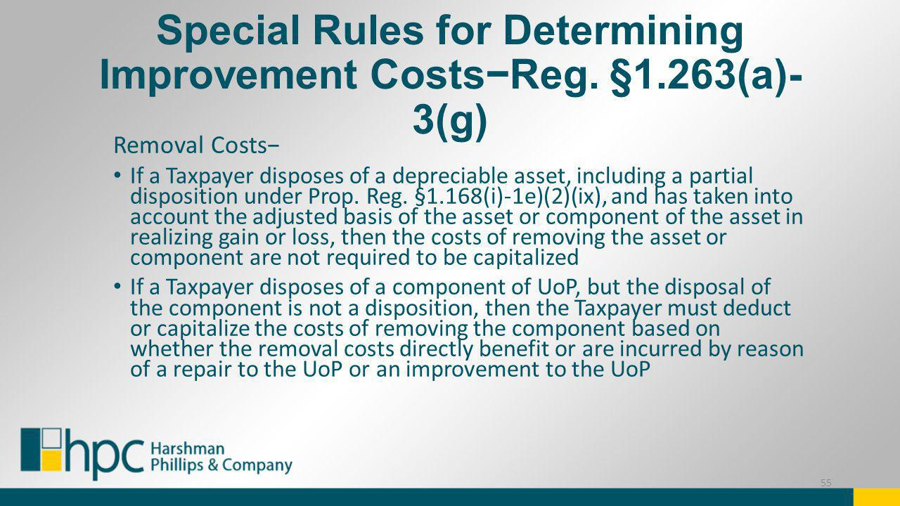 Special Rules for Determining Improvement Costs−Reg. §1.263(a)-3(g)