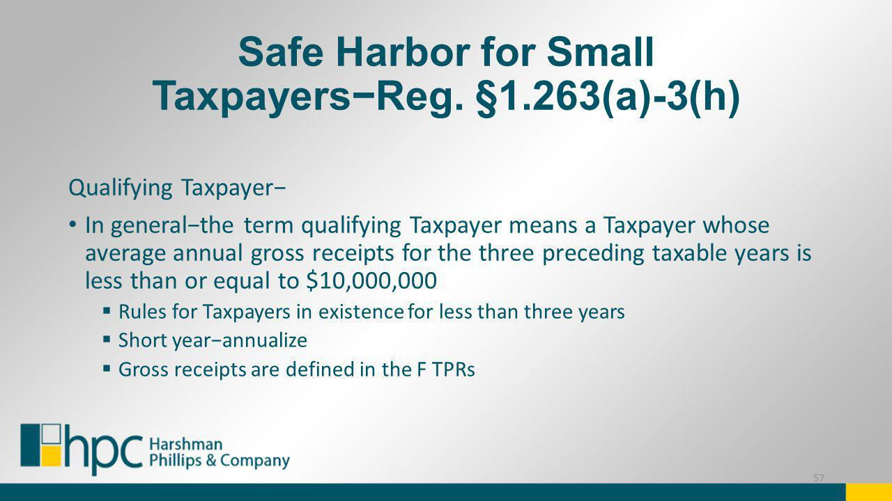 Safe Harbor for Small Taxpayers−Reg. §1.263(a)-3(h)