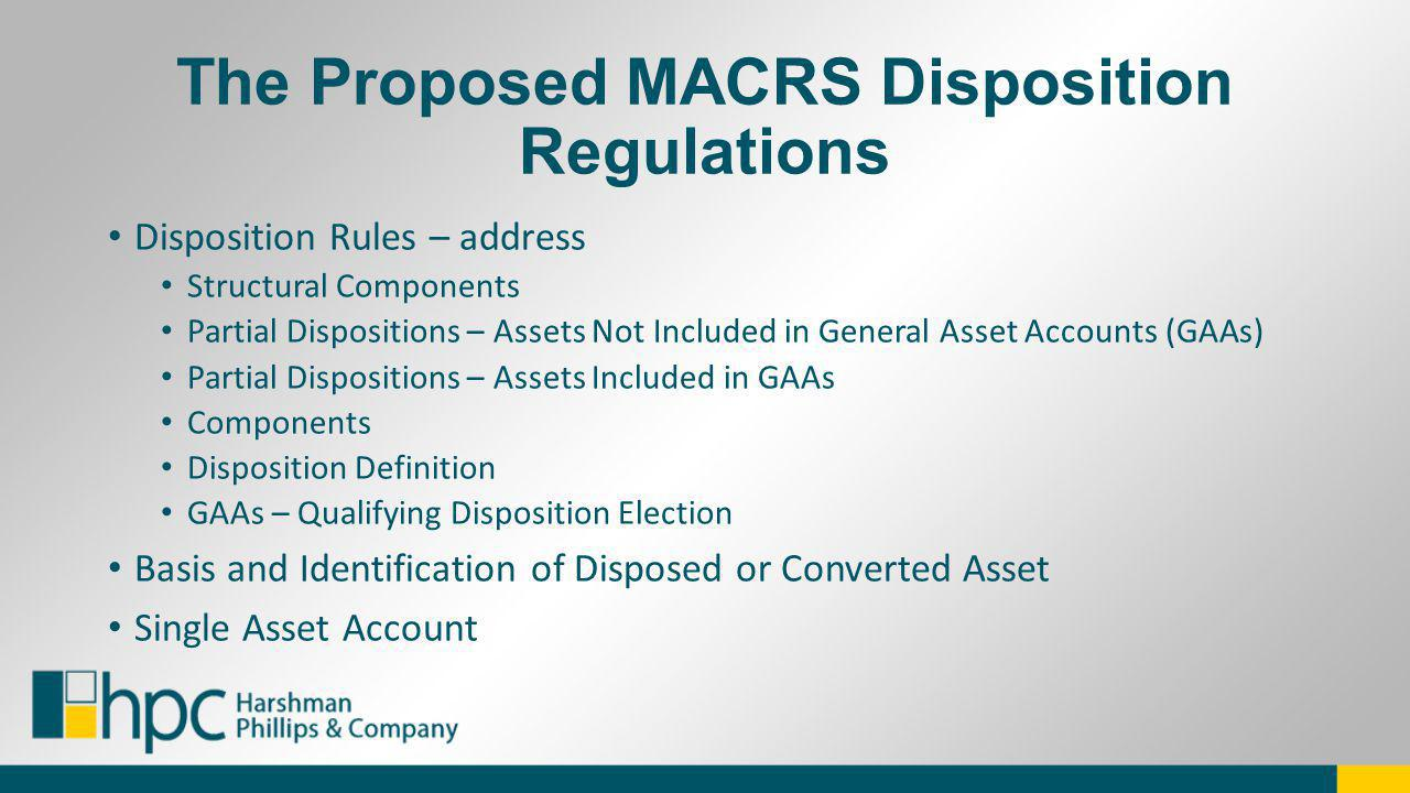 The Proposed MACRS Disposition Regulations