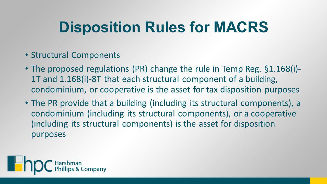 Disposition Rules for MACRS