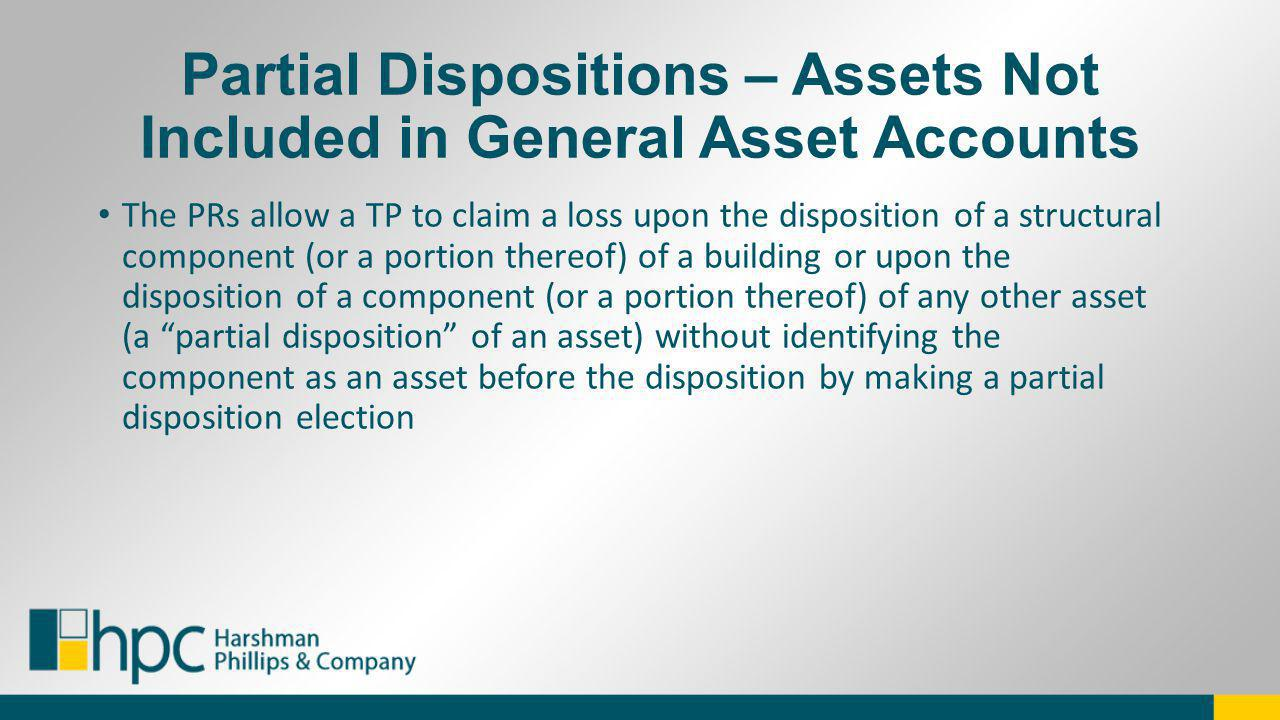 Partial Dispositions – Assets Not Included in General Asset Accounts
