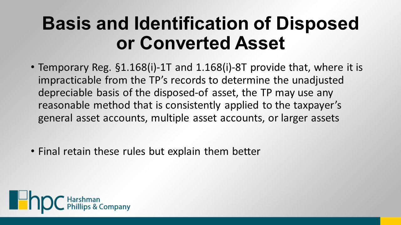 Basis and Identification of Disposed or Converted Asset