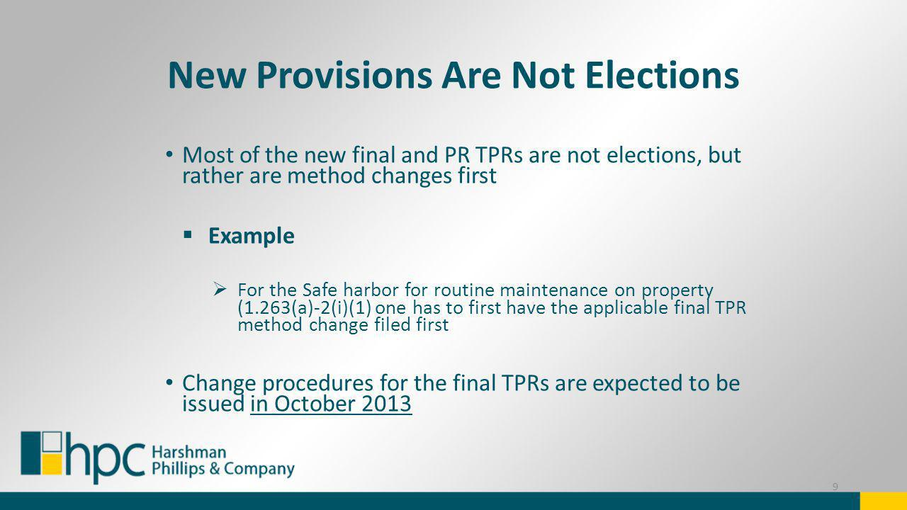 New Provisions Are Not Elections