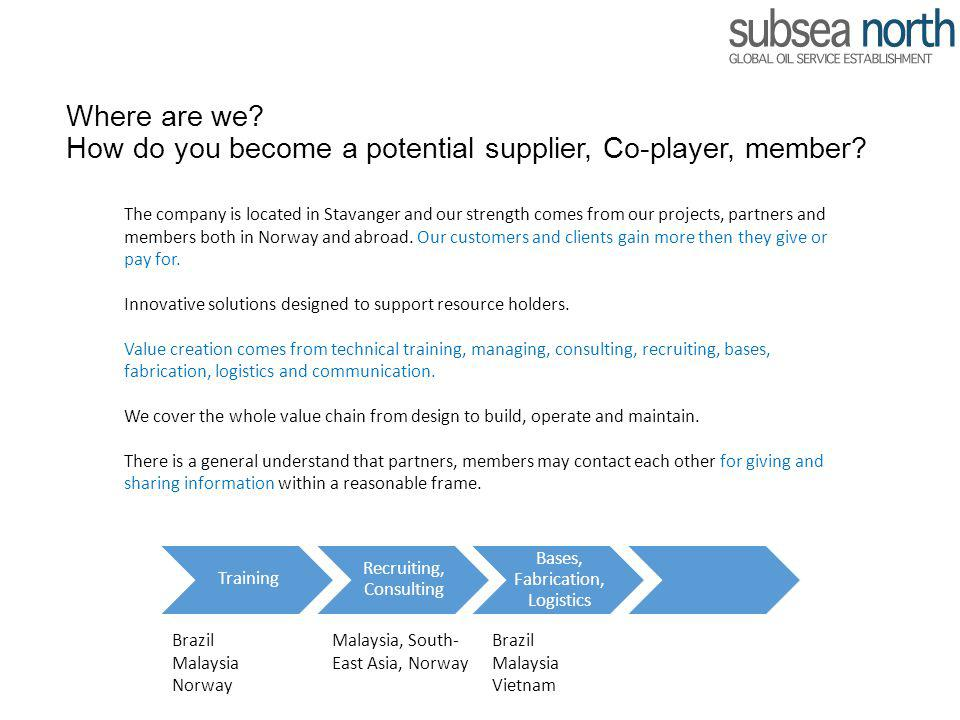 Where are we How do you become a potential supplier, Co-player, member