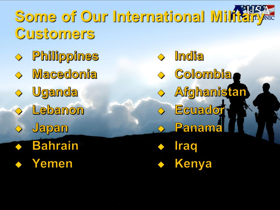 Some of Our International Military Customers