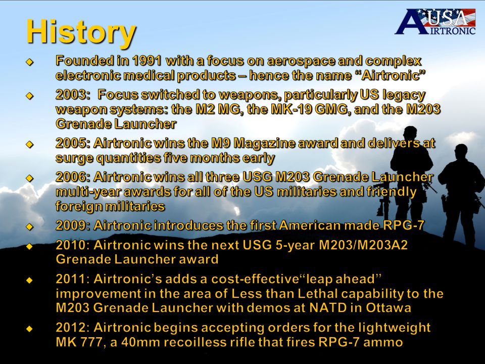 History Founded in 1991 with a focus on aerospace and complex electronic medical products – hence the name Airtronic