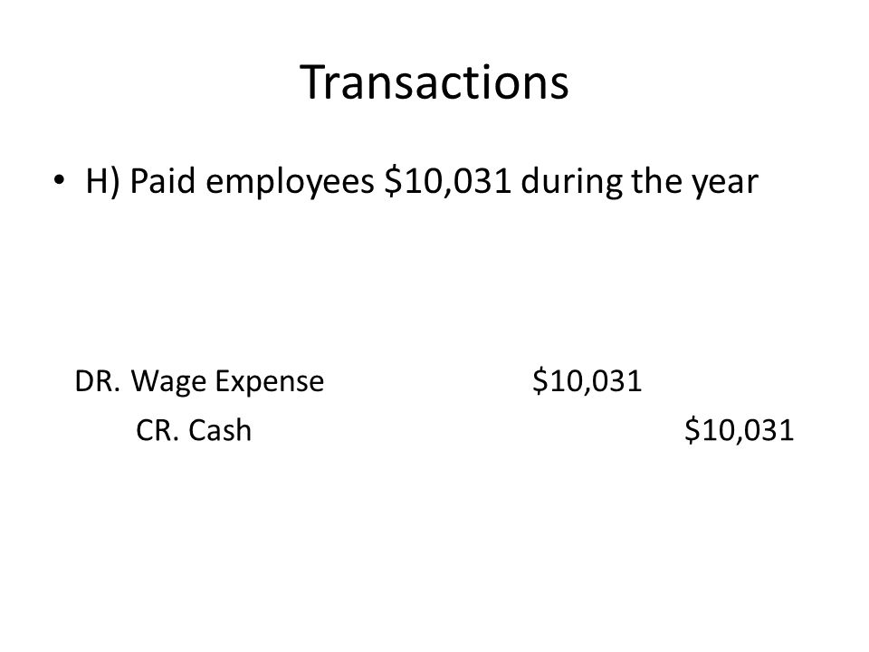 Transactions H) Paid employees $10,031 during the year