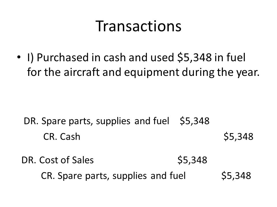 Transactions I) Purchased in cash and used $5,348 in fuel for the aircraft and equipment during the year.