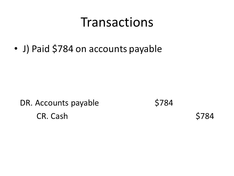 Transactions J) Paid $784 on accounts payable DR. Accounts payable