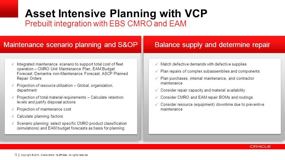 Maintenance scenario planning and S&OP