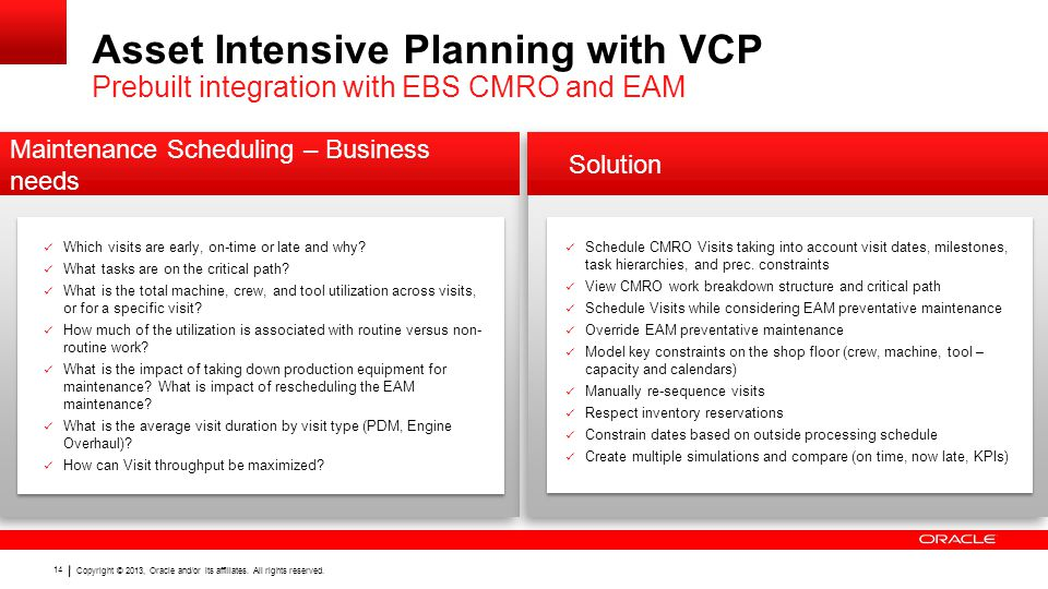 Asset Intensive Planning with VCP