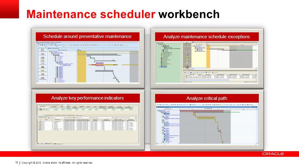 Maintenance scheduler workbench