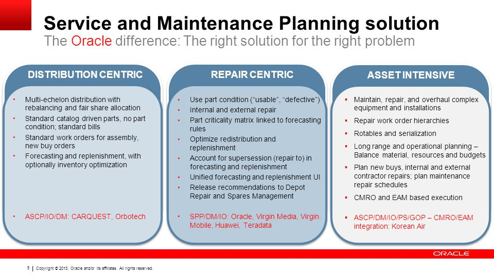 Service and Maintenance Planning solution The Oracle difference: The right solution for the right problem