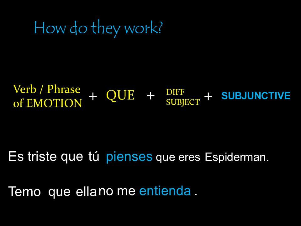How do they work + + + QUE Es triste que tú