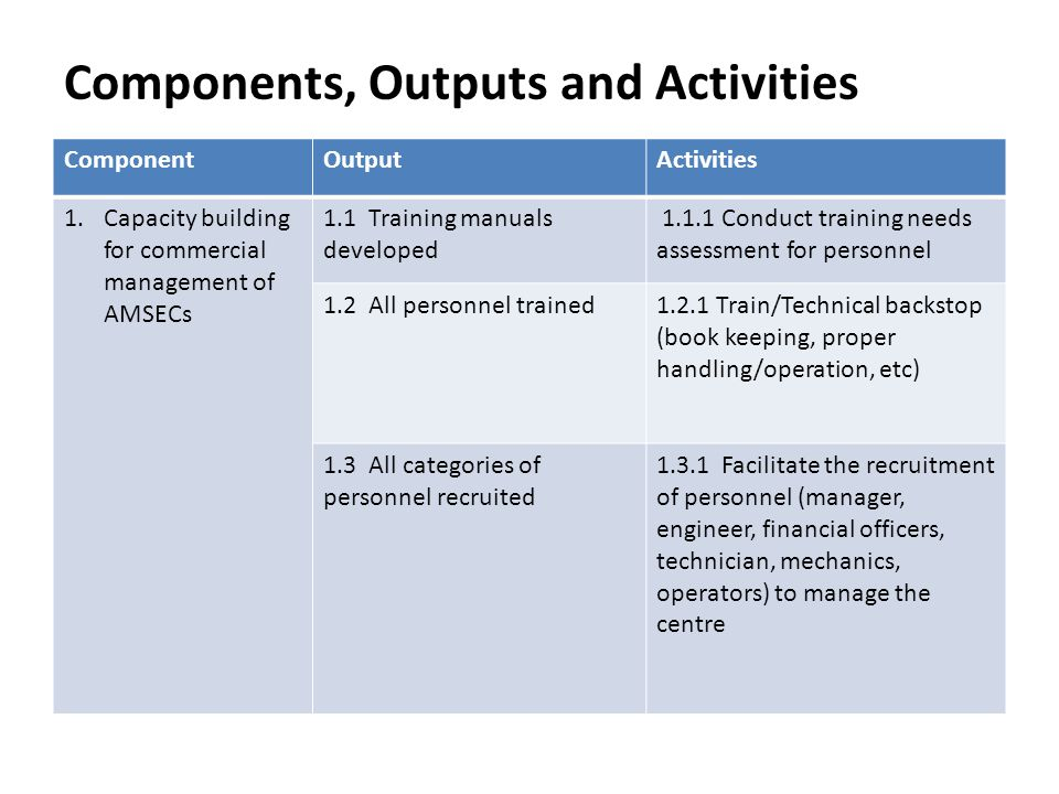 Components, Outputs and Activities