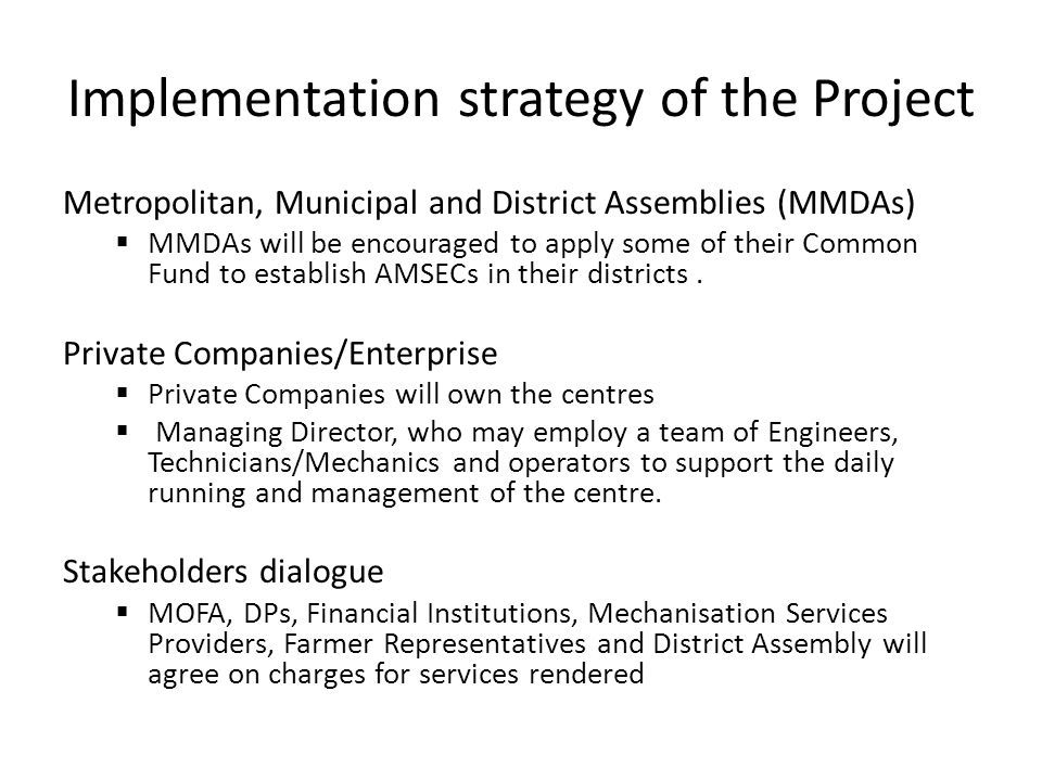 Implementation strategy of the Project