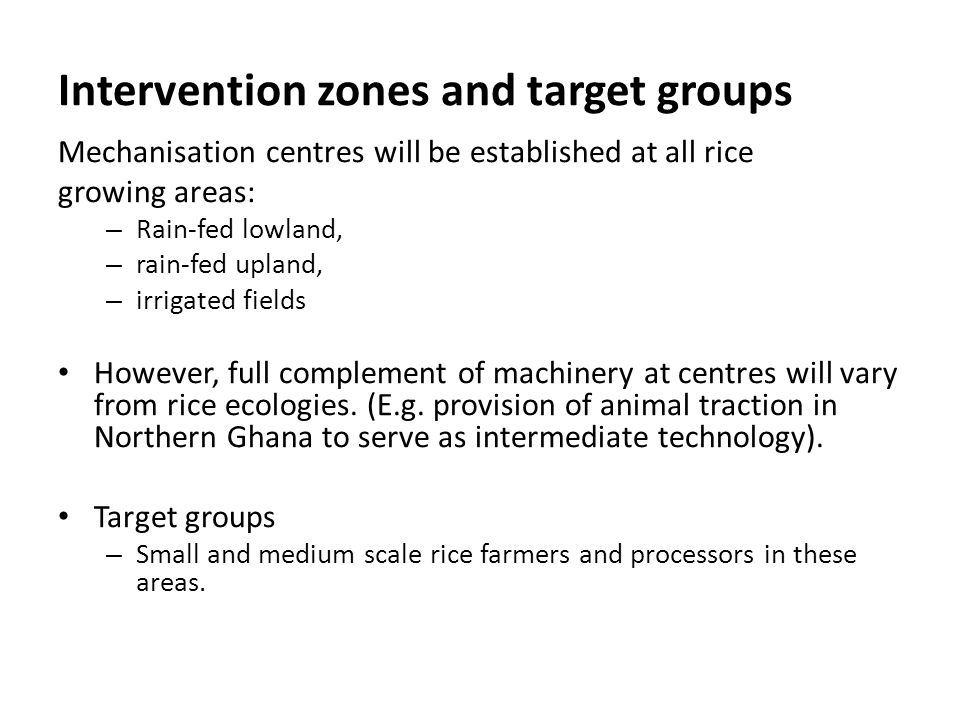 Intervention zones and target groups