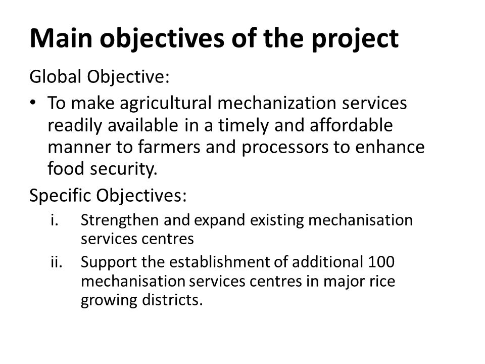 Main objectives of the project