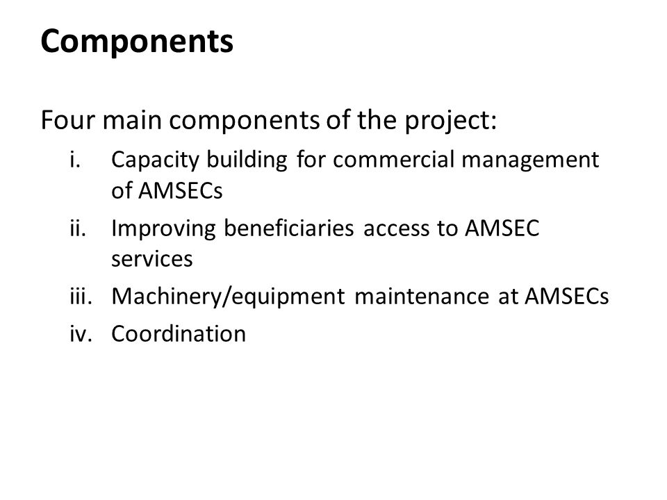 Components Four main components of the project: