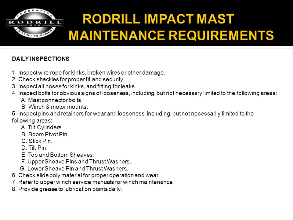 RODRILL IMPACT MAST MAINTENANCE REQUIREMENTS