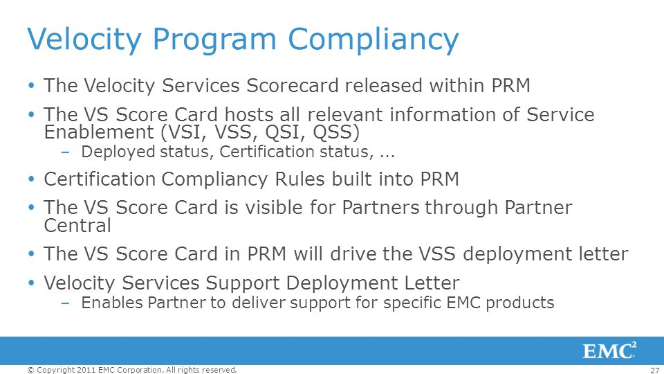 Velocity Program Compliancy
