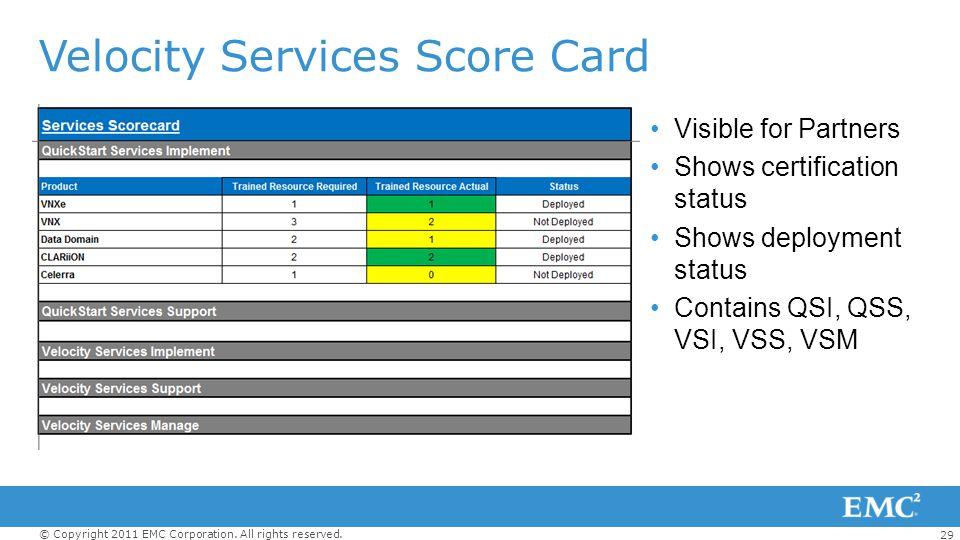 Velocity Services Score Card