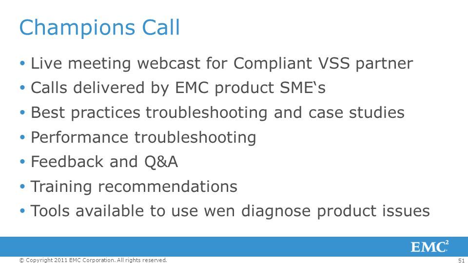 Champions Call Live meeting webcast for Compliant VSS partner
