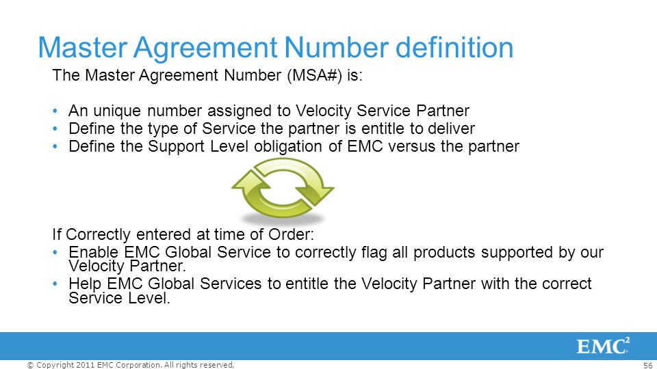 Master Agreement Number definition