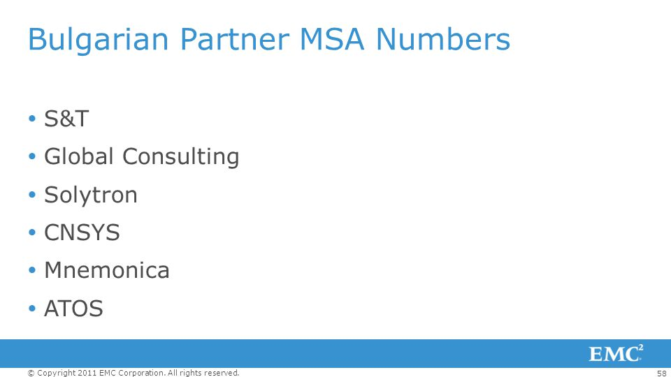 Bulgarian Partner MSA Numbers