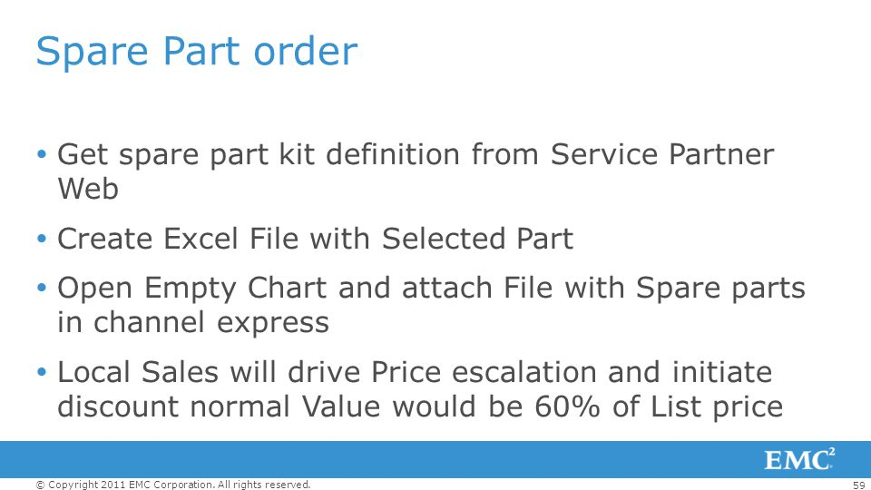 Spare Part order Get spare part kit definition from Service Partner Web. Create Excel File with Selected Part.