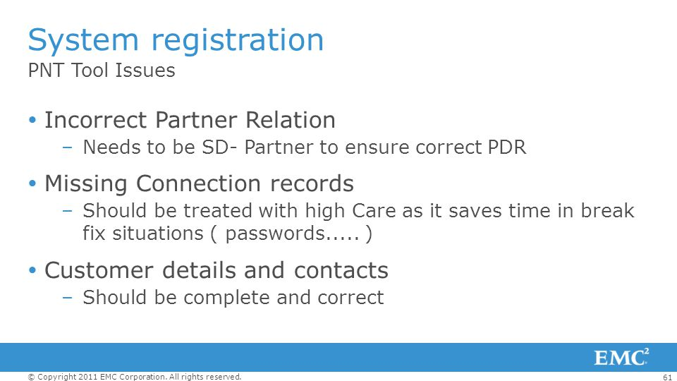 System registration Incorrect Partner Relation