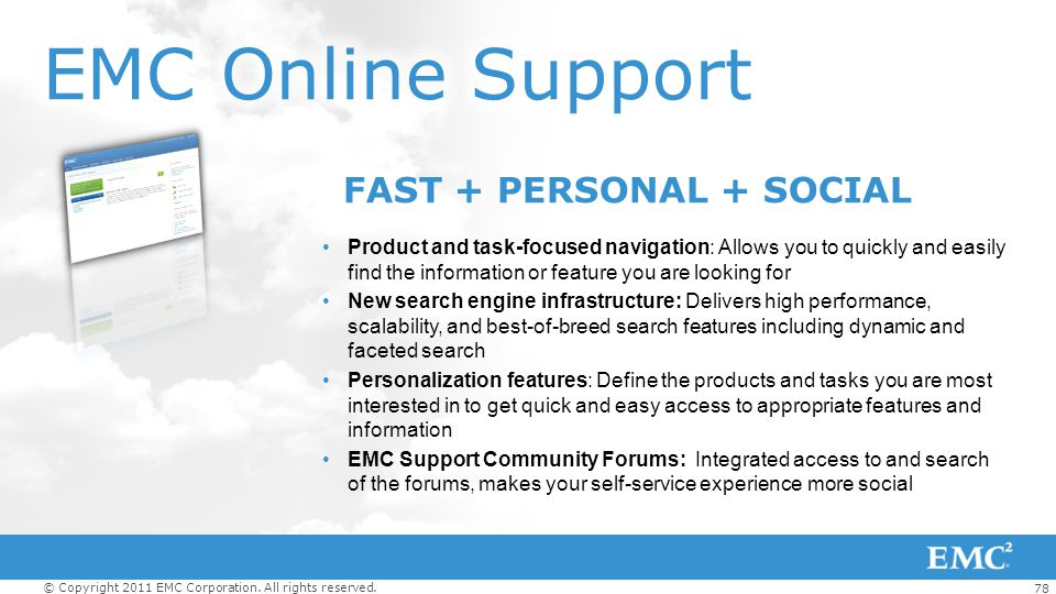 EMC Online Support FAST + PERSONAL + SOCIAL