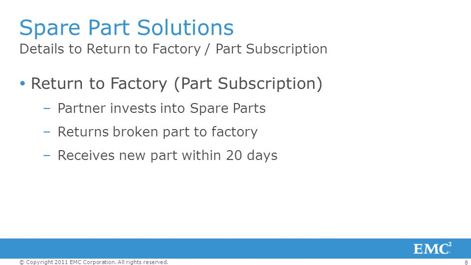 Spare Part Solutions Return to Factory (Part Subscription)
