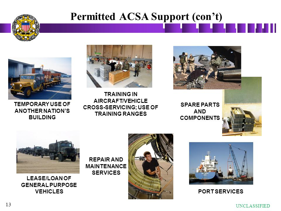 Permitted ACSA Support (con't)