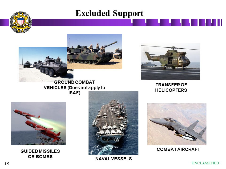 Excluded Support GROUND COMBAT VEHICLES (Does not apply to ISAF)
