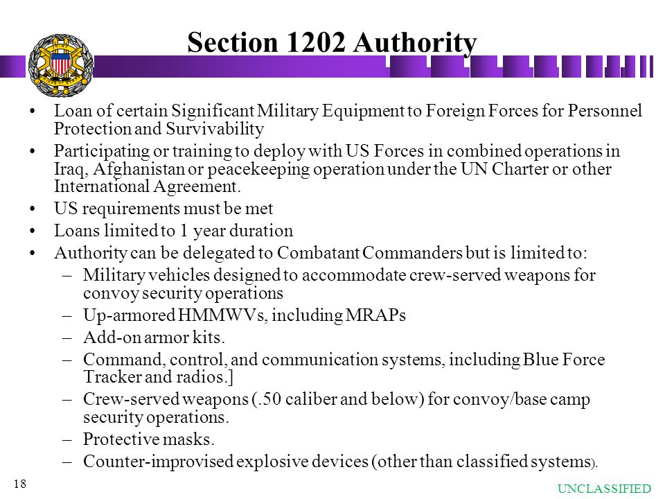 Section 1202 Authority J. O. T. N. I. S. A. F. C. H. E.