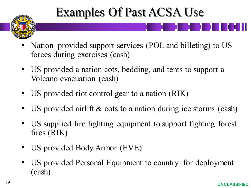 Examples Of Past ACSA Use