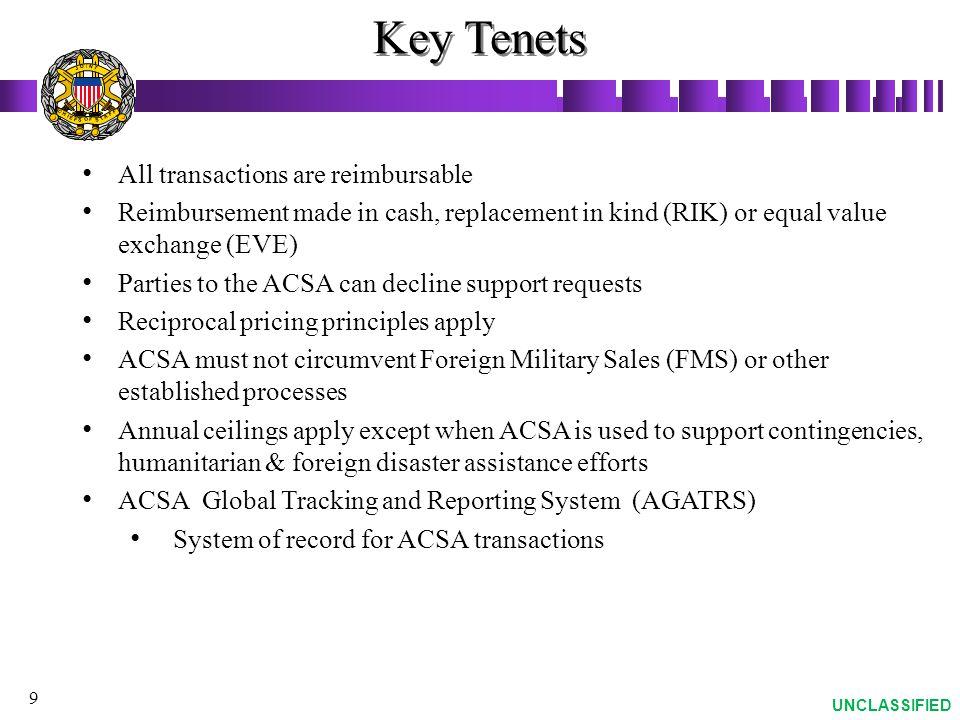 Key Tenets All transactions are reimbursable