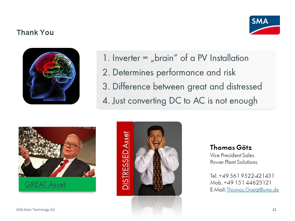 "1. Inverter = ""brain of a PV Installation"